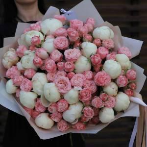 Большой букет пионы и пионовидные розы R519